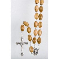 Chapelet Vierge Miraculeuse sur chaîne - Bois d'olivier