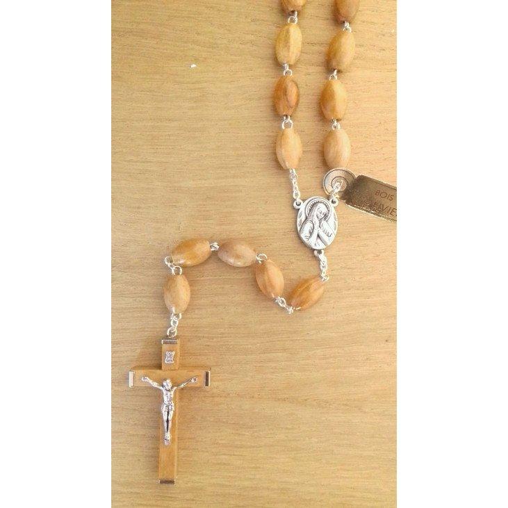 Chapelet Vierge Marie sur chaîne - Bois d'olivier