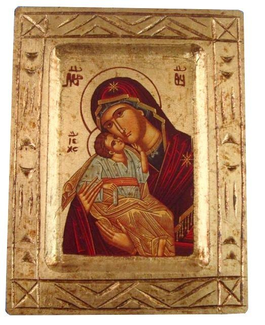 Icône Vierge de Tendresse sculptée