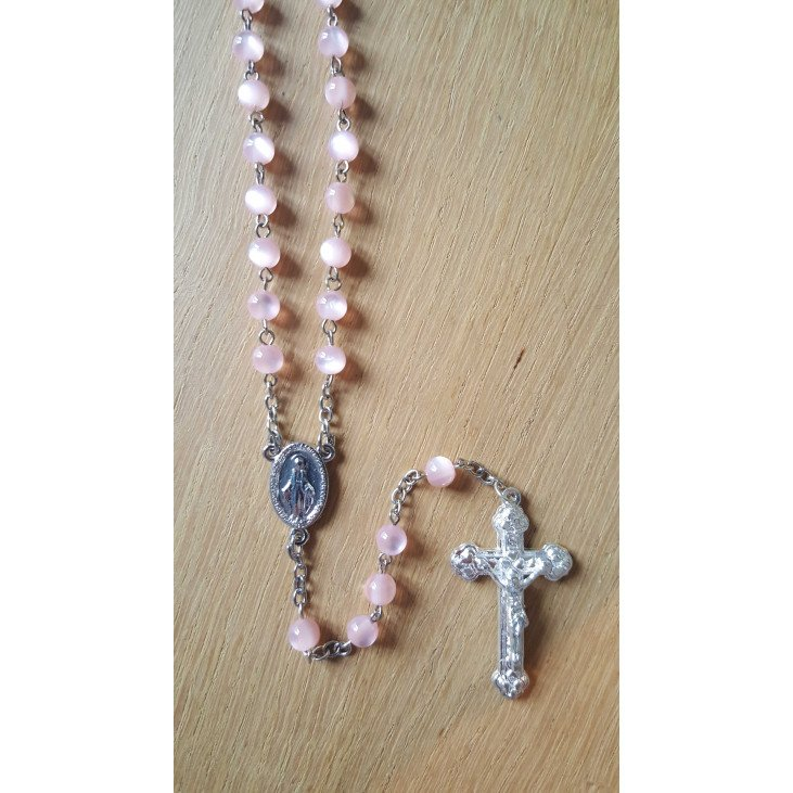 Chapelet Vierge Miraculeuse - Rose translucide