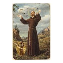 Carte de prière avec poinçon - Saint François