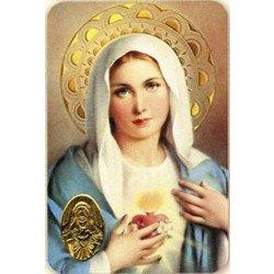 Carte de prière avec poinçon - Sacré Cœur de Marie