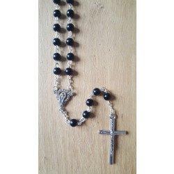 Chapelet perles noires - Vierge Marie