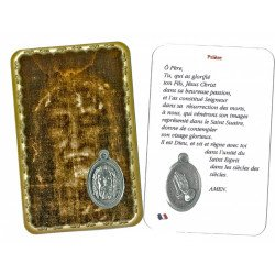 Carte de prière avec médaille en métal - Saint Suaire