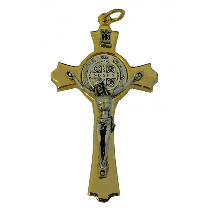 Croix Saint Benoit dorée - 7 cm
