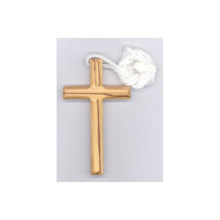 Croix d'aube en bois d'olivier avec cordon - 9,5 cm