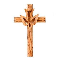 Crucifix avec colombe - Bois d'olivier