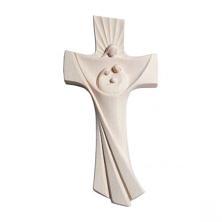 Crucifix Sainte Famille - Bois naturel