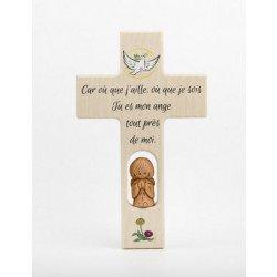 Croix enfantine en bois - Ange Gardien