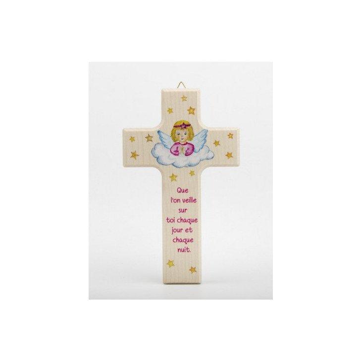Croix enfantine en bois - Fille