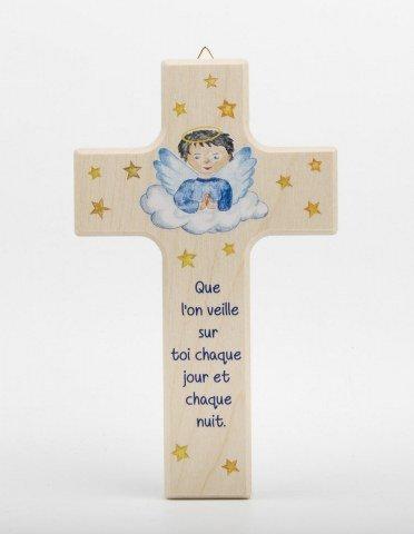 Croix enfantine en bois - Garçon