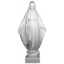 Statue de la Vierge Miraculeuse blanche en albâtre