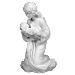Statue de la Vierge à l'Enfant en albâtre - 10 cm