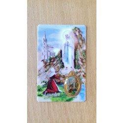 Carte avec prière et médaille - Notre Dame de Lourdes