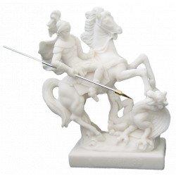 Statue de Saint Georges en albâtre - 20 cm