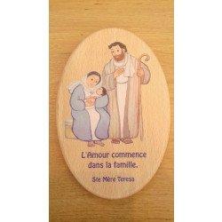 """Cadre en bois Maïté Roche """"L'amour commence dans la famille"""""""