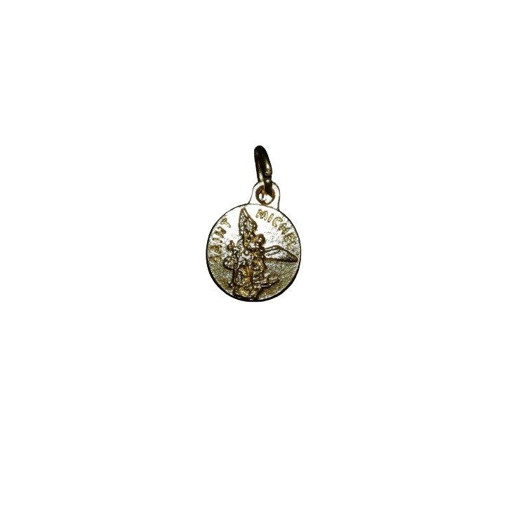 Médaille en métal dorée de Saint Michel - 12mm