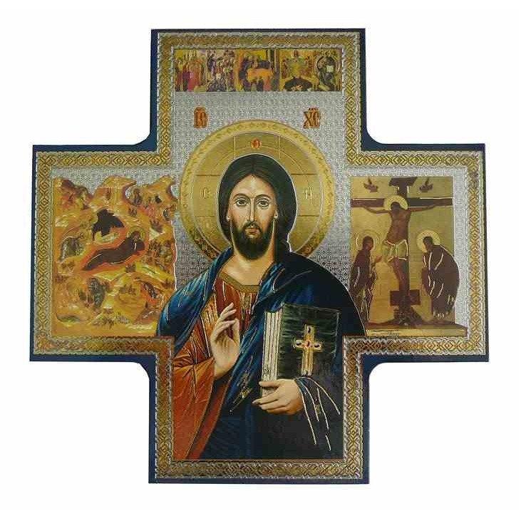 Icône en Croix du Christ Pantocrator