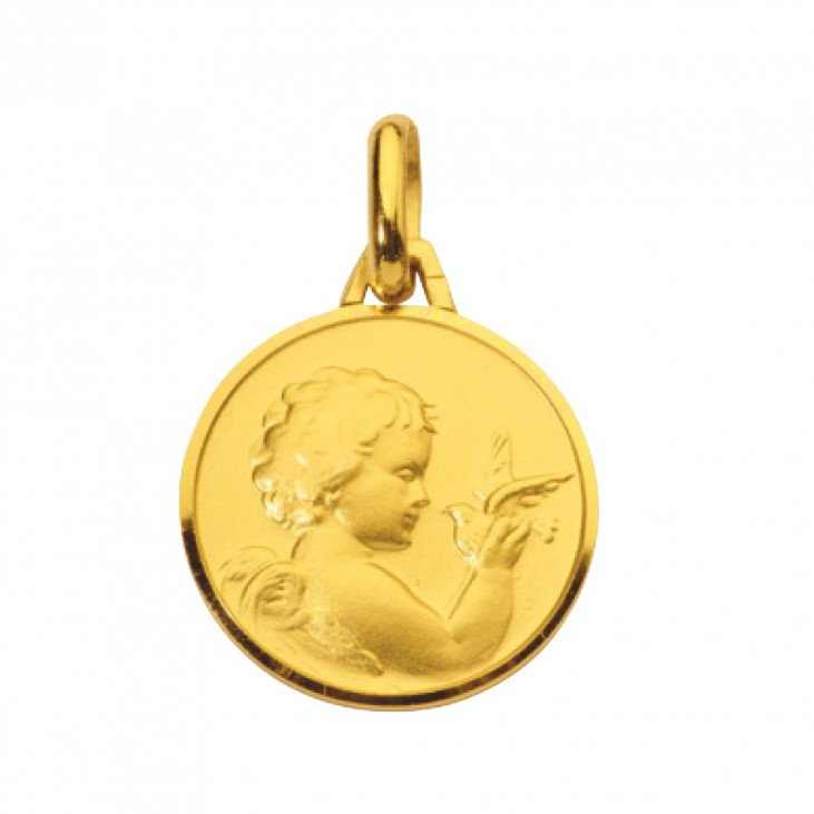 Médaille Ange avec Colombe - plaqué or