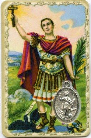 Carte de prière avec médaille en métal - Saint Expédit