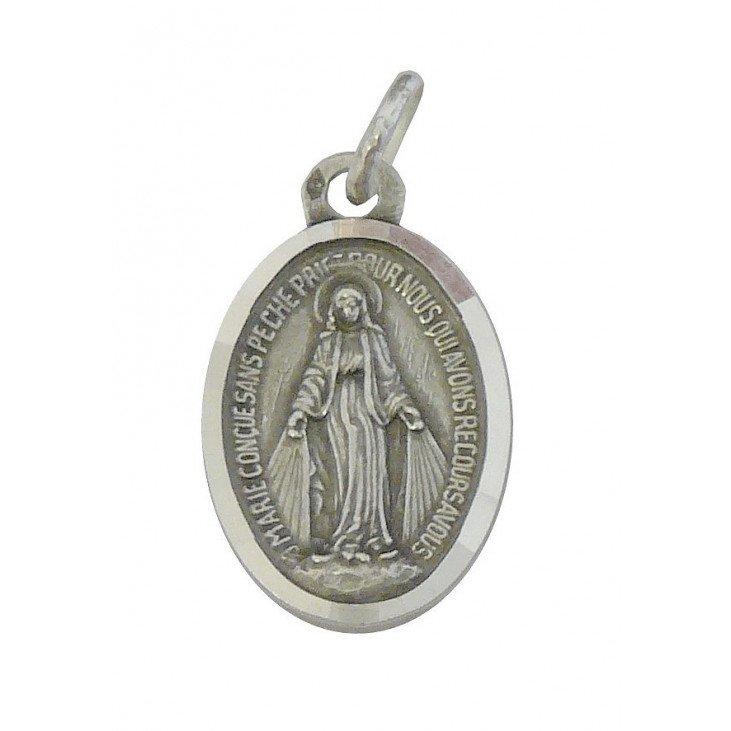 Médaille Miraculeuse avec bord facetté - argent