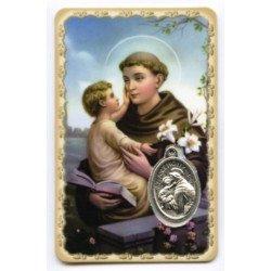 Carte de prière avec médaille en métal - Saint Antoine