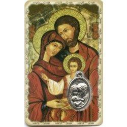 Carte de prière avec médaille en métal - Sainte Famille