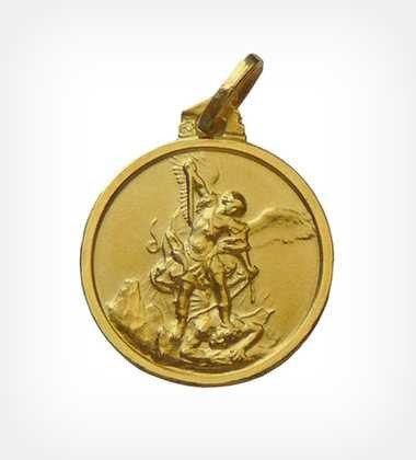 Médaille Saint Michel - plaqué or