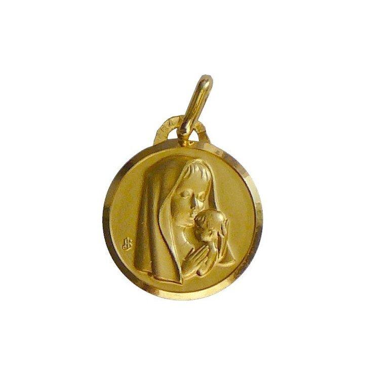 Médaille de la Vierge à l'Enfant bord - plaqué or