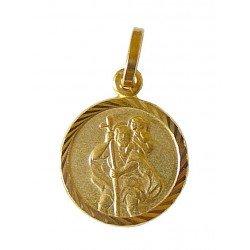 Médaille ronde striée plaqué or de saint Christophe