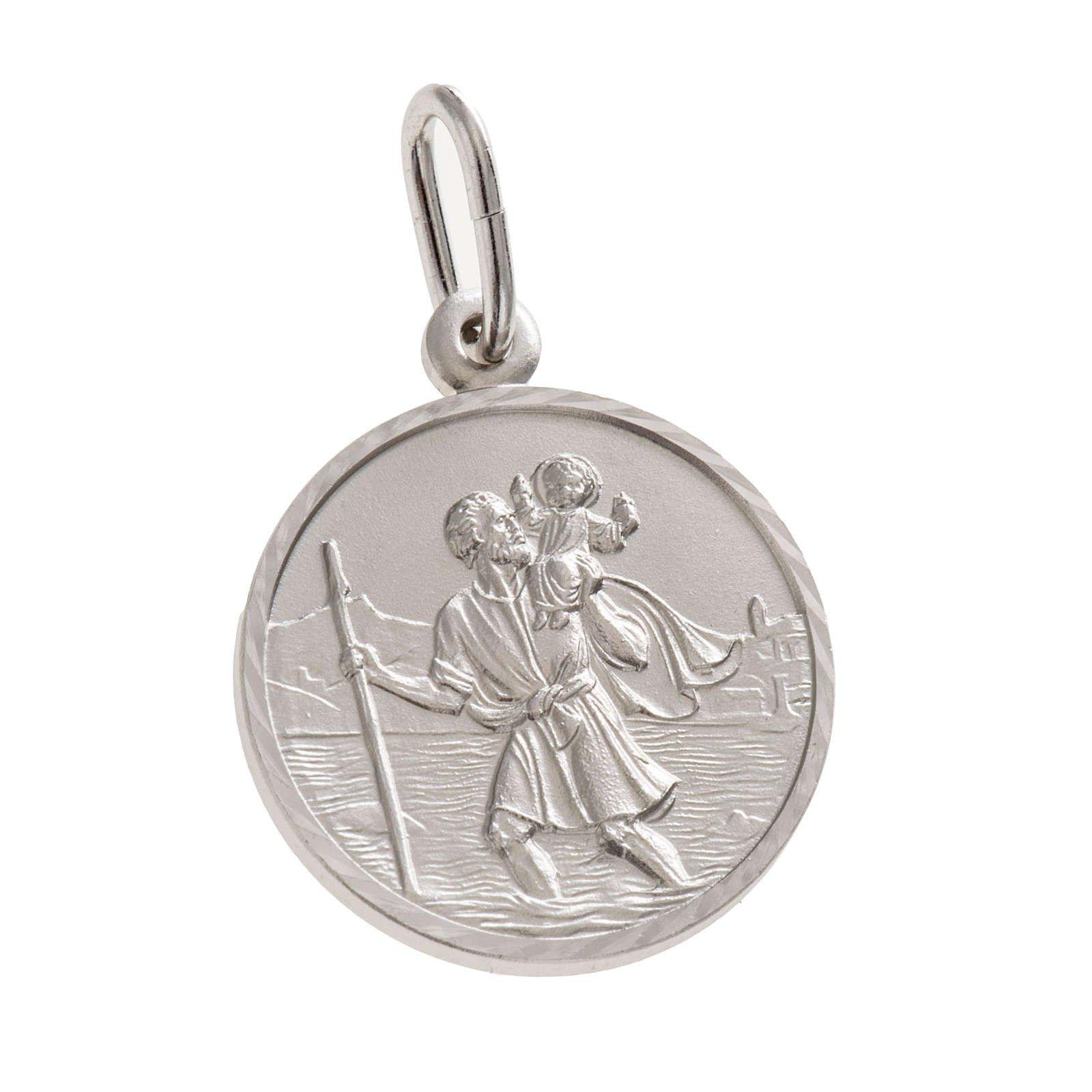 Médaille en argent de saint Christophe - 15 mm