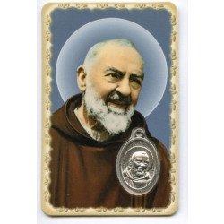 Carte de prière avec médaille en métal - Padre Pio