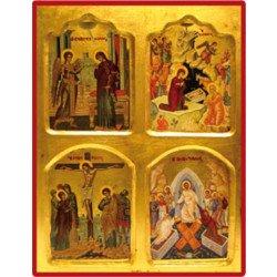 Icône Annonciation Nativité Crucifixion Résurrection