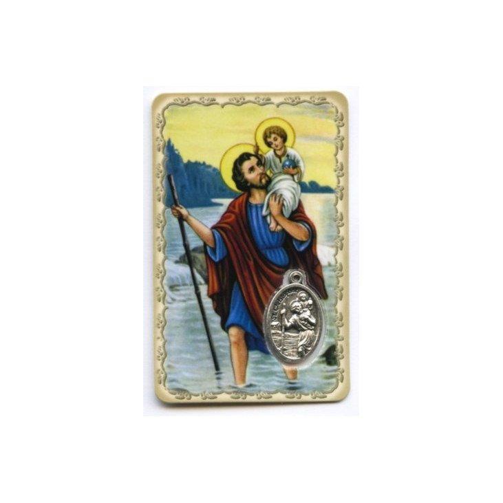 Carte de prière avec médaille en métal - Saint Christophe