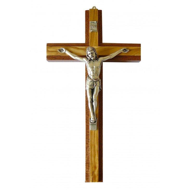 Crucifix en bois d'olivier & acajou - 20 cm