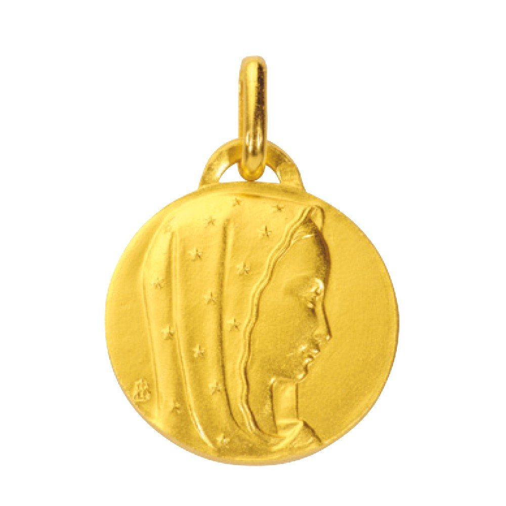 Médaille de la Vierge 18mm ronde - plaqué or