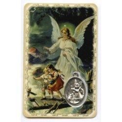 Carte de prière avec médaille en métal - Ange Gardien