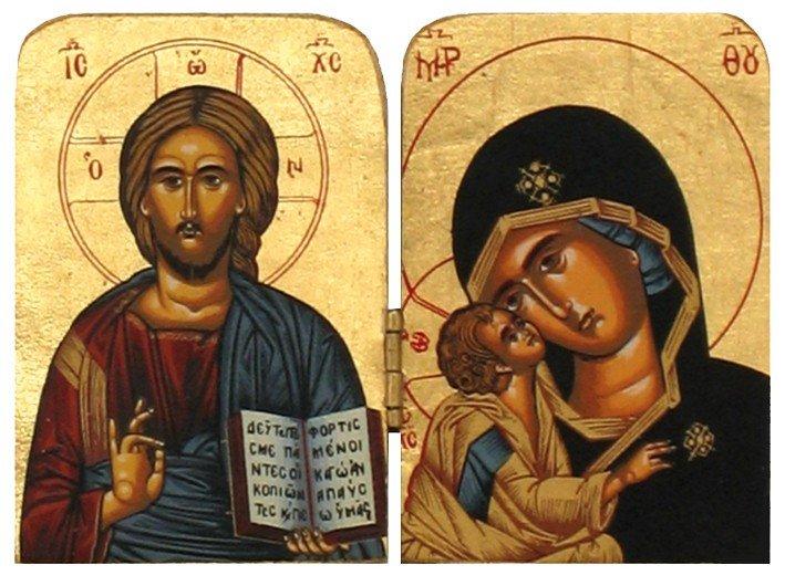 Icône diptyque Vierge Marie et Christ Pantocrator