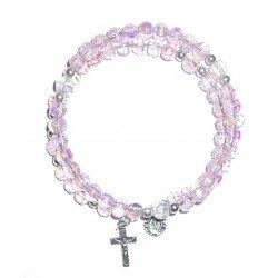 Bracelet chapelet en plastique rose