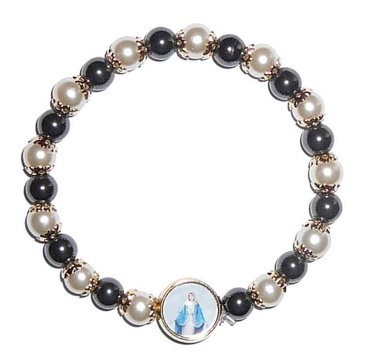 Bracelet Vierge miraculeuse - Hématites et perles blanches