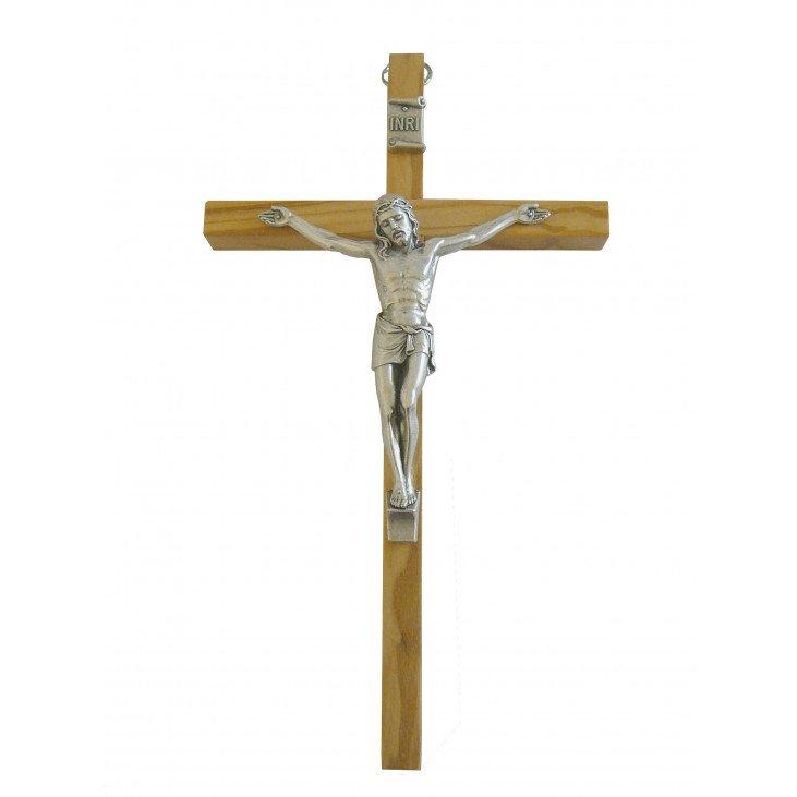 Crucifix en bois & métal argenté