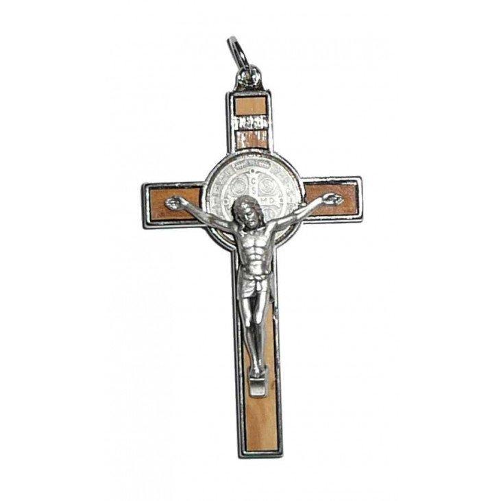 Croix Saint Benoît métal et bois avec cordon - 7 cm