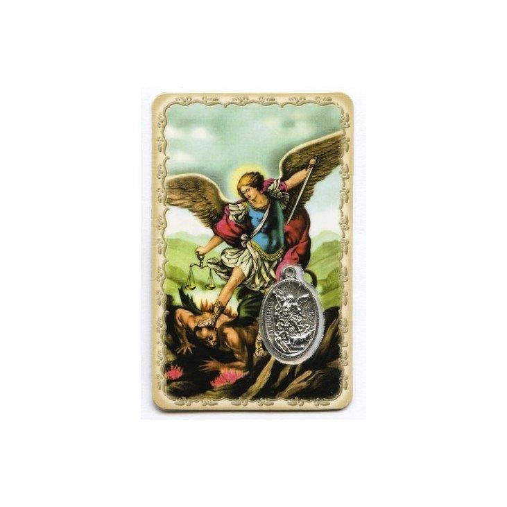 Carte de prière avec médaille en métal - Saint Michel