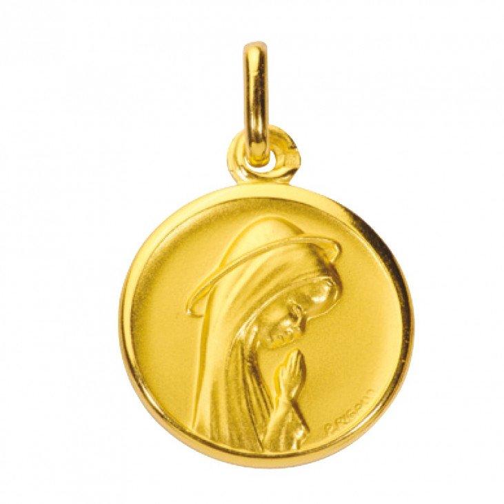 Médaille de la Vierge en prière 18mm - plaqué or