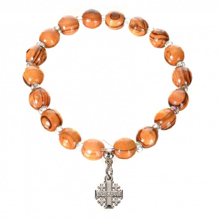 Bracelet croix de Jérusalem - Bois d'olivier