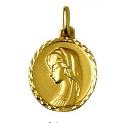 Médaille de la Vierge ronde avec bord - plaqué or
