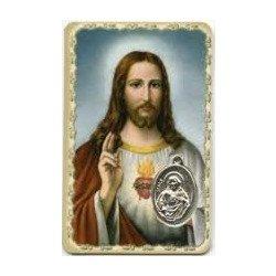 Carte de prière avec médaille en métal - Sacré-Coeur de Jésus