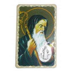 Carte de prière avec médaille en métal - Saint Benoît